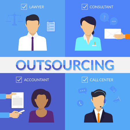 outsourcing: Four types of outsoursing for business start-up. Lawer, consultant, accountant, call center operator Illustration