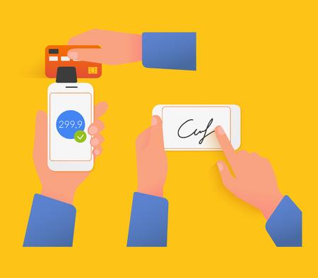 acquiring: Vector illustrations of mobile acquiring with signature via smartphone.