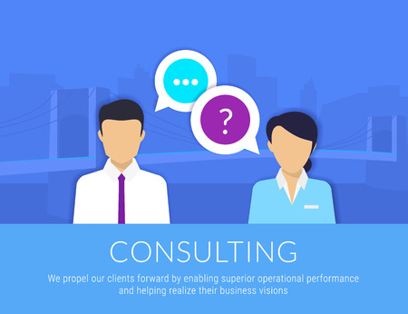 consulting team: Consulting business. Businessman and female consultant with speech bubbles. Text is outlined. Free fonts Lato and Roboto Condensed Illustration