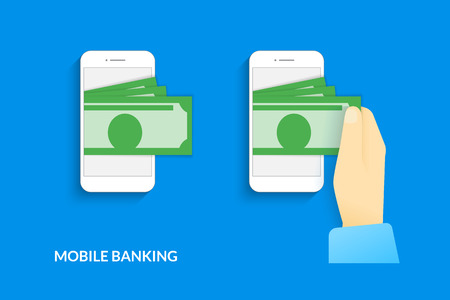e wallet: Mobile banking. Vector illustration of  human hand  withdraws cash from his smartphone