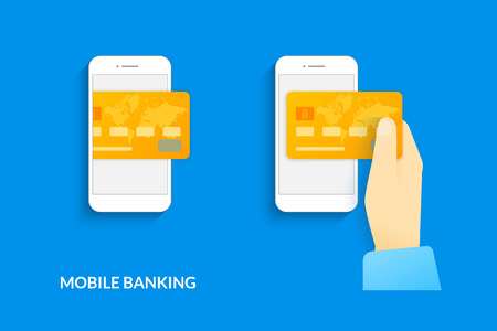 banking and finance: Mobile banking. Vector illustration of human hand  withdraws cash from his smartphone