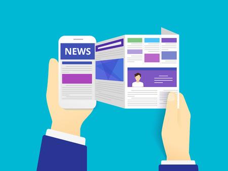 Wiadomości online czytanie. Ilustracji wektorowych z czytania wiadomości online za pomocą smartfona