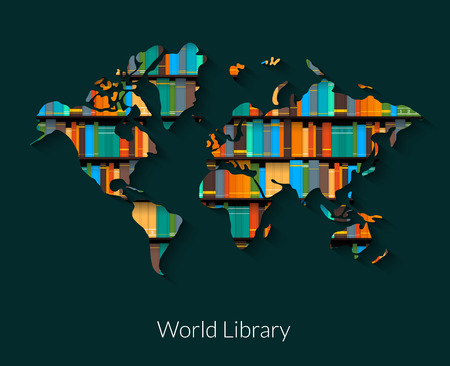 and literature: World library vector illustration on dark background.