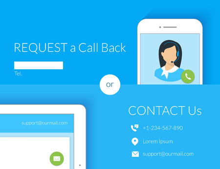 Contact us webform design with call center operator, smartphone and tablet pc. Text is outlined. Free font Lato