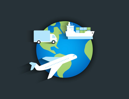 Global delivery icon with airplane, ship and truck on the planet Illustration