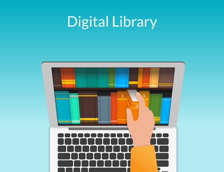 digital library: Man chooses eBooks in the Internet store Illustration