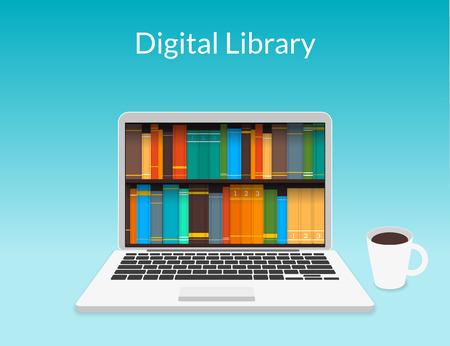 biblioteca: Presentaci�n de la computadora port�til con libros electr�nicos en la tienda web Vectores