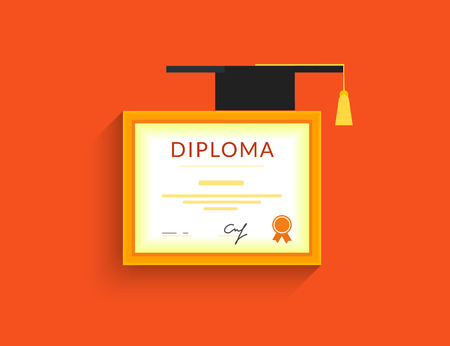 Diploma icon with square academic cap isolated. Flat vector illustration
