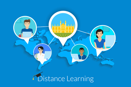 Distance learning vector illustration with students and university in the center. Text outlined. Free font Lato Vettoriali