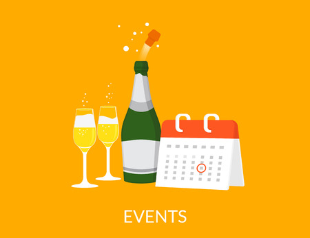 event organizer: Events vector illustration with calendar with champagne