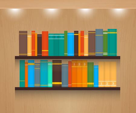 shelve: Home library vector illustration on textured wooden background. Illustration