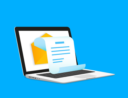 Newsletter Illustration mit Laptop isoliert auf blau