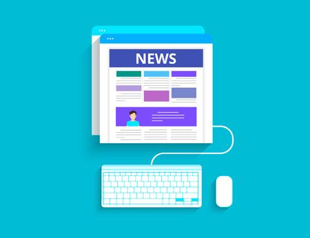 reading news: Online reading news. Vector illustration of online reading news using smartphone