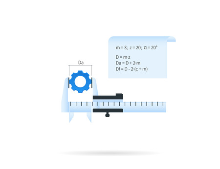 computation: Caliper with blue gear icon isolated on white