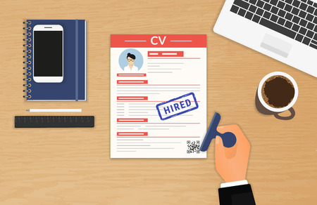 job: Businessman accepted CV sitting in the office Illustration
