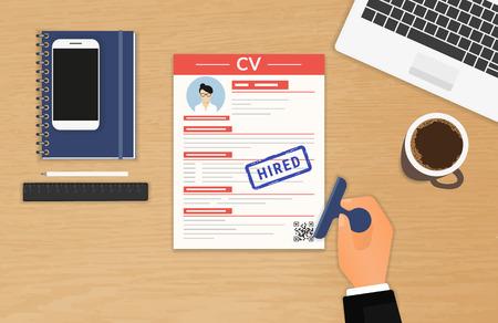 Geschäftsmann akzeptiert CV im Büro sitzen Illustration