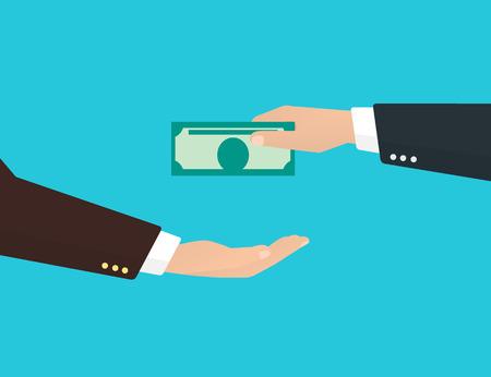 Zakenman neemt een bankbiljet van een andere zakenman. Vector Illustratie