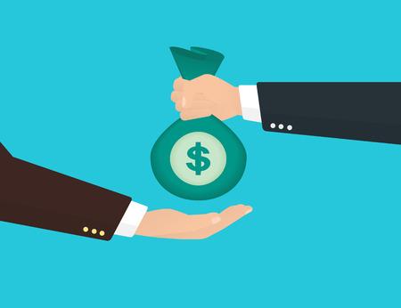 cash money: El hombre de negocios toma la bolsa de dinero de otro hombre de negocios. Vectores