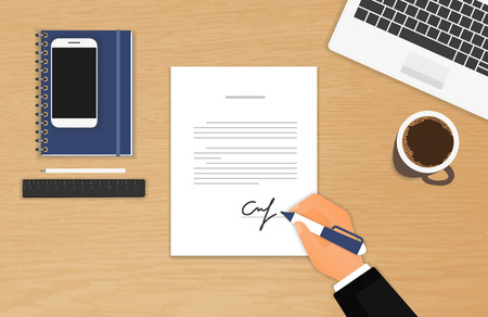 autographing: Businessman is signing a contract in the office. Flat vector ilustration