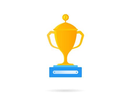 rewarded: Icono recompensa de oro. Ilustraci�n vectorial plano aislado en blanco