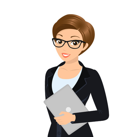 businesswoman skirt: Business woman is wearing black suit isolated on white. Illustration