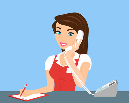 Female smiling call centre operator with telephone.