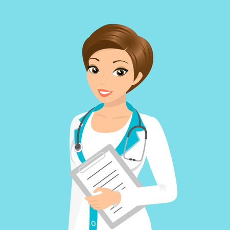 doctor vector: Vector illustration of smiling doctor with a folder in her hand Illustration