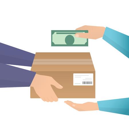 Die Zahlung mit Bargeld für Expresslieferungen. Flache Darstellung Illustration