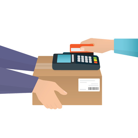 mail man: Payment by credit card for express delivery Illustration