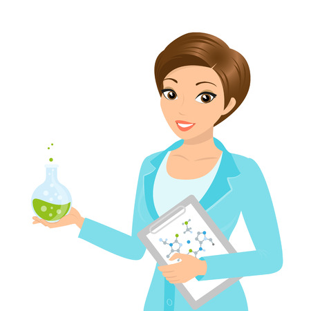 lab technician: Vector illustration of smiling female chemist with a folder in her hand