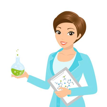 chemist: Vector illustration of smiling female chemist with a folder in her hand