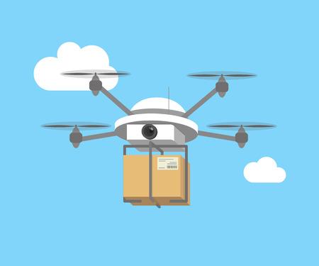 Afstandsbediening lucht drone met een doos vliegen in de lucht Stock Illustratie