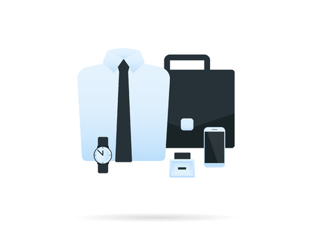 office accessories: Male office accessories. Shirt, briefcase, wristwatch and smartphone. Vector icon isolated on white