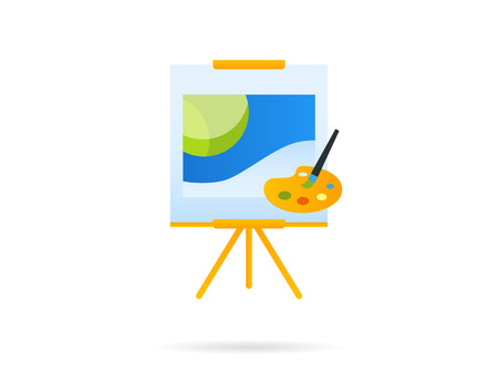 panting: Panting board with creative art. Vector icon isolated on white Illustration