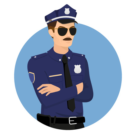 security laws: Policeman wearing uniform in blue circle isolated on white vector illustration.