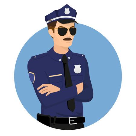 Politieagent uniform dragen in blauwe cirkel geïsoleerd op wit vector illustratie.