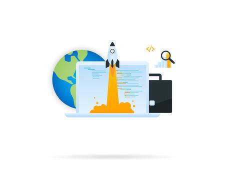 emprendimiento: Icono de inicio del proyecto. Icono del vector aislado en blanco Vectores