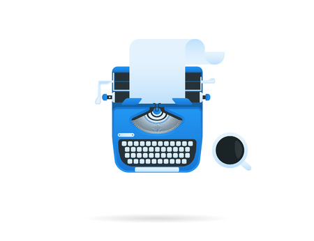 classic authors: Blue typewriter with a cup of coffee. Vector icon isolated on white