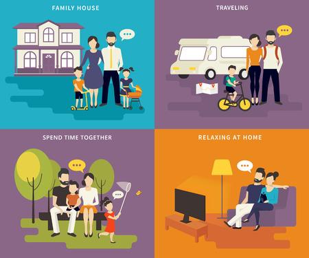mujer viendo tv: Familia con niños concepto iconos planos conjunto de casa, viajar, pasar tiempo juntos, visitando viendo la televisión