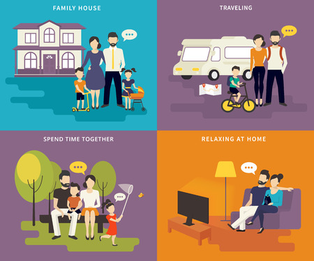 character of people: Family with children concept flat icons set of house, traveling, spending time together, visiting watching tv