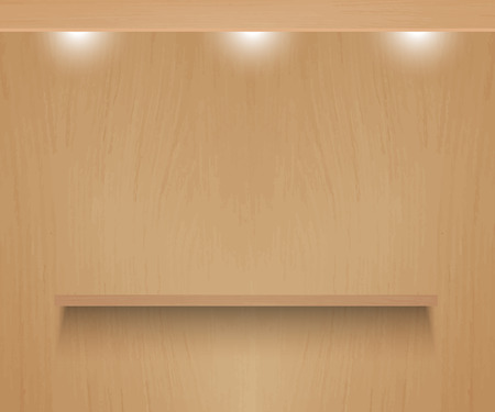expansive: Realistic vector shelf on textured wooden background.  Illustration