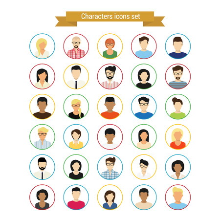 Vector characres round contour icons set of modern people isolated on white Ilustração