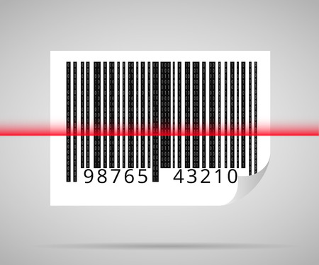 bar code scanner: Barcode scanning icon with red laser line