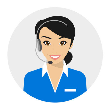 Female call centre operator with headset. Flat moderm style Vettoriali