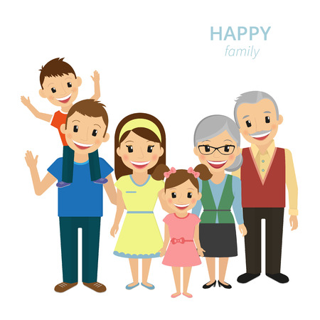 mom: Vector illustration of happy family. Smiling dad, mom, grandparents and two kids isolated on white Illustration