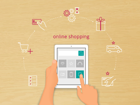 buy online: Vector illustration of online shopping with realistic human hand holding white talet pc and contour icons