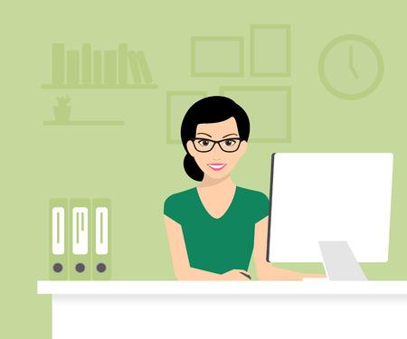mujeres sentadas: La mujer está desgastando las gafas y el trabajo con ordenador. Ilustración vectorial moderna plana
