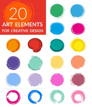 colourful paint: Circle paint drops set for creative design - twenty elements