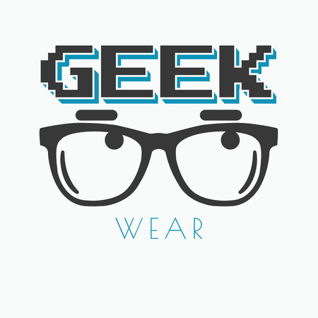 geek: Geek wearing glasses typography t-shirt graphic design Illustration