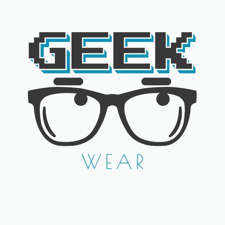 Geek wearing glasses typography t-shirt graphic design Illustration